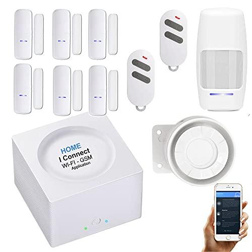 Nouveau - Alarme de Maison sans Fil - WI-FI/GSM - APP - 2 Sirènes - 6 Détecteurs d'ouverture - 1 de Mvt - 2 Téls - 8 Stickers - Alarme de Maison