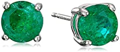 Stud earrings featuring round birthstone in four-prong basket settings in sterling silver Butterfly backing Crafted in .925 sterling silver Imported These silver pieces are built for longevity. This piece features a metal plating or flashing, or an e...