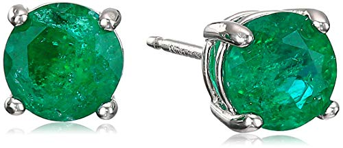Amazon Essentials Sterling Silver Round Created Emerald Birthstone Stud Earrings (May)