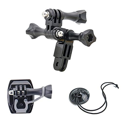 Adjustable Long and Short Straight Arm Extension Joints Curved Helmet Mount for GoPro Hero, AKASO, Campark, Crosstour, Dragon Touch, APEMAN, COOAU, Neewer, Victure, VanTop and More Action Cameras