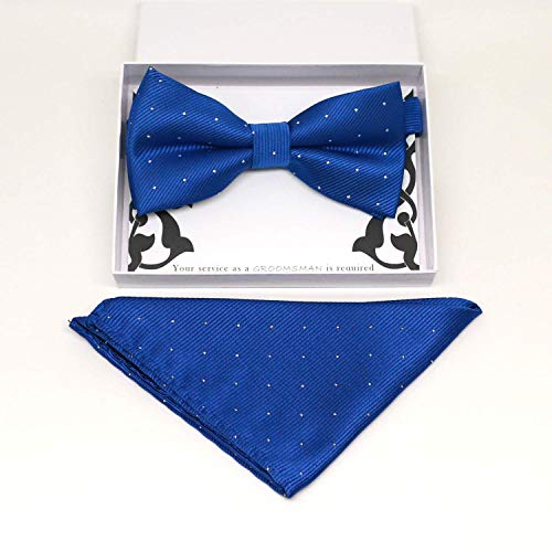 Royal blue bow tie & Royal blue Pocket Square, Best man Groomsman Man of honor ring breaer bow, Blue kids bow, some thig blue, handkerchief