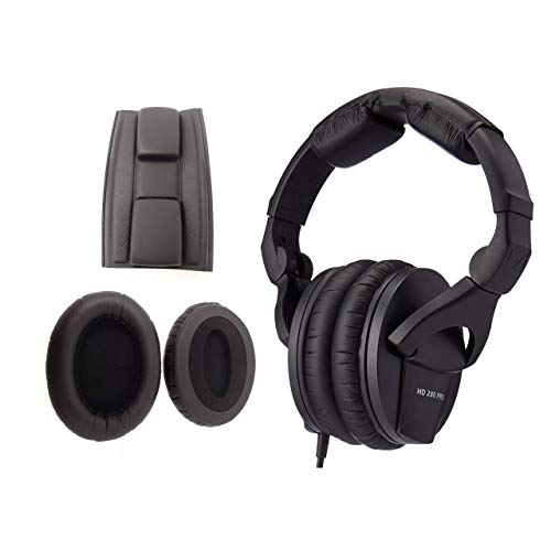 Sennheiser HD 280 Pro Circumaural Closed-Back Monitor Headphones with Extra Earpads and Headbands Bundle