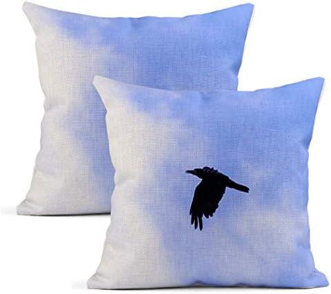 Meowjoy Set van 2 Kussenslopen Print Linnen Kraai een Zwarte Vliegen bij de Blue Sky Vogel Kussenslopen Auto Sofa Slaapkamer Home Decor Geschenken voor Familie Vrienden 20x20 Inch