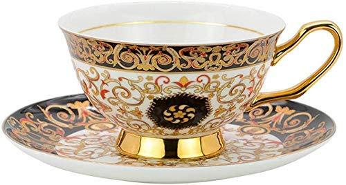 ACOOME - Juego de 2 tazas de té y platillo, 7 onzas de porcelana de hueso del norte de Europa romántica, estilo de taza de té y decoración de mesa