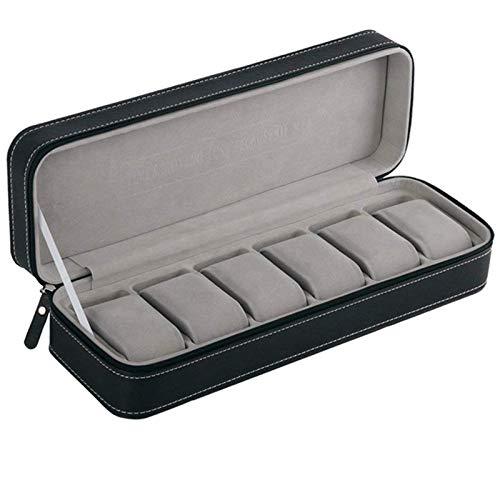 Caja para reloj de 6 ranuras Estuche portátil con cremallera para viaje Almacenamiento para coleccionista Estuche para almacenamiento de joyas (Negro)