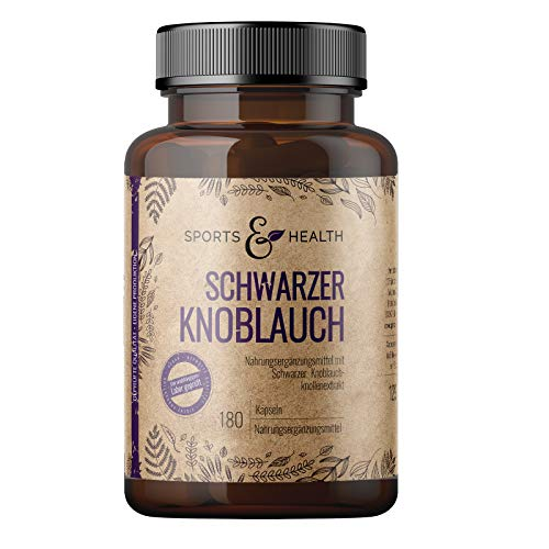 Schwarzer Knoblauch Kapseln - 180 Kapseln Hochdosiert mit 600mg pro Tagesdosierung - Black Garlic Capsules - Vegan & Ohne Zusätze - Schwarzer Knoblauch