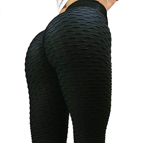 FITTOO Women Sexy High Waist Butt Scrunch Push Up Leggings Stretch Gym Workout Yoga Pants S Black
