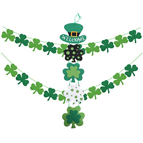 St. Patrick's Day Decorations Sets Themed Hanging Welcome Sign and 2 Strings of Felt Shamrock Clover Garland Banner- St. Patrick 's Day Banner Decor - St. Patrick 's Day Garland Decorations