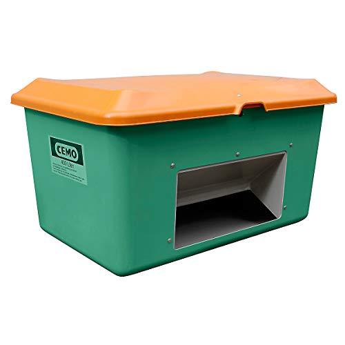 CEMO Streugutbehälter aus GfK - Volumen 400 l, mit Entnahmeöffnung, Behälter grün - Kunststoff-Behälter Mehrzweckbehälter Schüttgutbehälter Streugutbehälter GfK-Behälter Behälter für Streugut Großbehälter Kunststoff-Behälter Mehrzweckbehälter