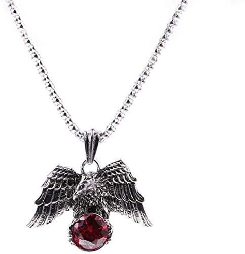 NC122 Colgante, Collar, Moda Vintage, águila, aleación de Zinc, Hombres, Mujeres, Cadena de Cristal Rojo para Hombres, Collares de Fiesta
