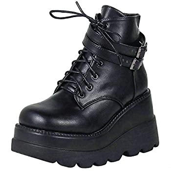celnepho Chunky Platform Boots for Women Square Toe Lace up Zip High Heel Combat Wedge Ankle Boots