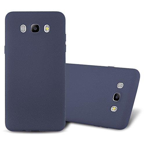 Cadorabo Funda para Samsung Galaxy J7 2016 en Frost Azul Oscuro - Cubierta Proteccíon de Silicona TPU Delgada e Flexible con Antichoque - Gel Case Cover Carcasa Ligera