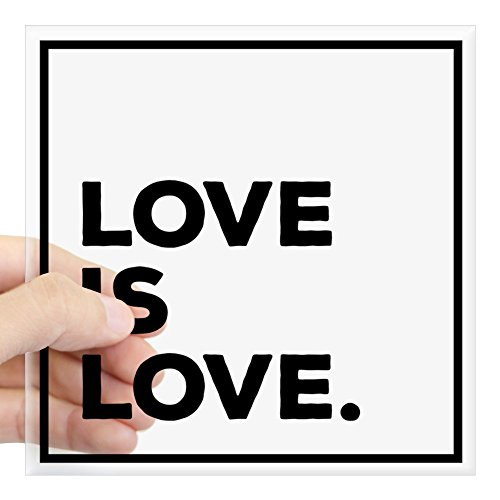 CafePress Love is Love. Square Bumper Sticker Car Decal, 3'x3' (Small) or 5'x5' (Large)