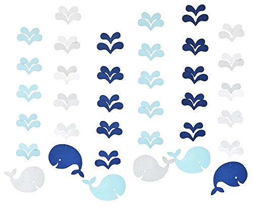 Zealax Nautical Ocean Baby Shower Decorations Glitter Hanging Paper Garland Preppy Boy Birthday Supplies