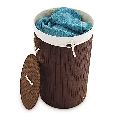 Relaxdays Wäschekorb Bambus, faltbare Wäschetonne mit Deckel, Volumen 70 l, Wäschesack Baumwolle, rund Ø 41 cm, braun