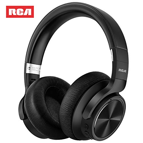 RCA [Upgraded] Active Noise Cancelling Headphones, Over Ear Wireless Bluetooth Headset with CVC 6.0 Microphone, 30Hrs Playtime, Foldable Soft Protein Earpads Earphones for Travel Work TV PC Phone