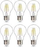 AmazonBasics Professional - Bombilla de tipo Edison LED, casquillo E27, equivalente a 40W, vidrio de filamento transparente, regulable - juego de 6