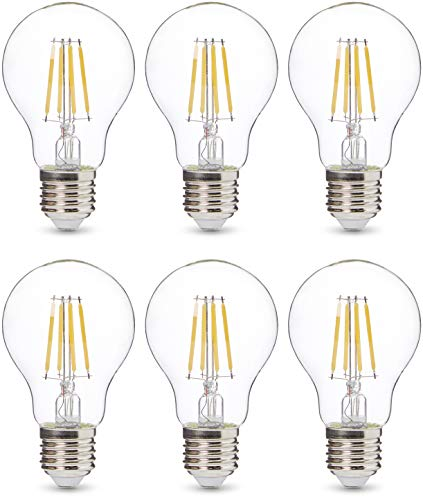 Amazon Basics Professional LED-Leuchtmittel, Edison-Schraubgewinde (E27), entspricht 40-Watt-Birne, Klarglas, Glühfaden-Design, dimmbar, 6 Stück