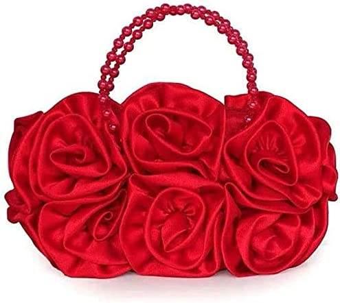 Women's Evening Handbags Beaded Hand Bag, Rose Flower Banquet Bag, Bride Bag (Color : Red)
