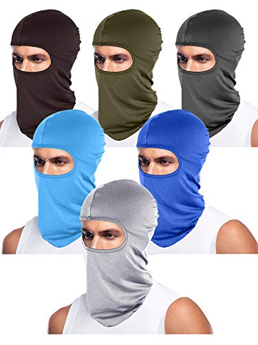 6 Pieces Unisex Balaclava Full Face Mask Winter Windproof Ski Mask (Coffee, Dark Grey, Army Green, Blue, Light Grey, Sky Blue)