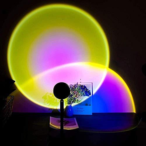 ADIS Proyector de puesta del sol Lámpara LED de mesa de noche romántica luz visual de pie luces de 90 grados de rotación para fiestas, cine, sala de estar, dormitorio, fondo, decoración de pared, sol