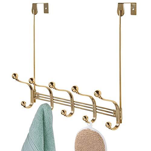 mDesign praktische Hakenleiste – Wandgarderobe mit 10 Garderobenhaken für Küche, Flur und Bad – Haken zur Aufbewahrung von Mänteln, Jacken, Schals und Handtüchern – messingfarben