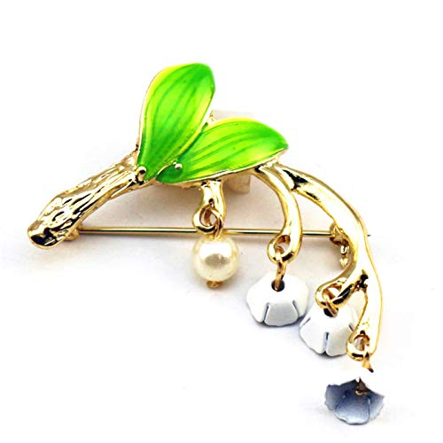 Broche para mujer, elegante diseño de lirio de valle con flor esmaltada para vestir, bufanda, alfiler de joyería, color verde