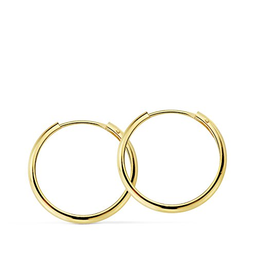 Pendientes oro amarillo Lupita 16mm 18 Ktes