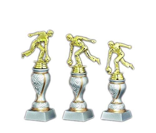 3er-Serie Bowling-Pokale (Herren) auf Resin-Sockel mit Ihrem Wunschtext graviert.