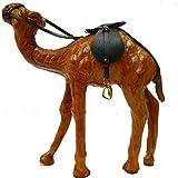 indischerbasar.de - Figurine Dromadaire Cuir marron clair 18 cm hauteur Cuir véritable Décoration d'intérieur