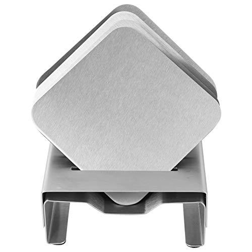 Cabilock 1 set di sottobicchieri rotondi in acciaio inox con supporto antiscivolo, in metallo per tavolo da cucina (argento)