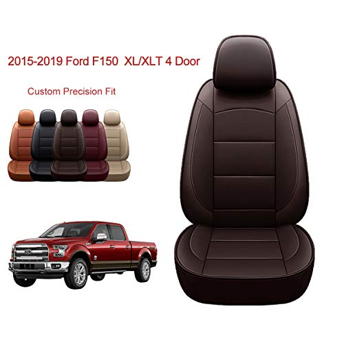 OASIS AUTO | 2015-2020 F150 Truck | 2017-2020 F250 F350 |Custom Fit PU Leather Seat Covers Full Set Compatible with Ford F-150 F-250 F-350 XL XLT Lariat Limited Platinum Pick up (Brown)