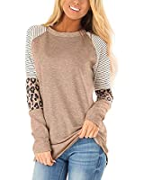 QACOHU Leopard Long Sleeve Top for Women Sweatshirt Tunic Long Sleeve Blouses for Womens Lightweight Sweatshirt Khaki L