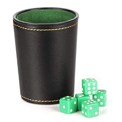 Dobbel Kop Set Met Vijf Dobbelstenen, PU Leer Stable Stable, Comfortabel Gevoel De Hand Dobbelstenen Cup Set,Silver