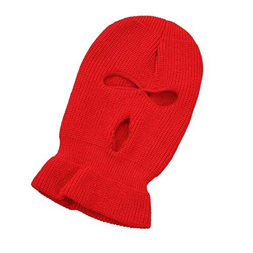 Nicoone Gorro de punto cálido, de invierno, cálido, de 3 agujeros, resistente al viento, para deportes, senderismo, snowboard, patinaje, Unisex adulto, 1622850-AM124-8888, rojo, medium