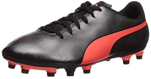 PUMA mens Rapido Firm Ground Sneaker, Puma Black-red Red-puma Aged Silver, 10 US