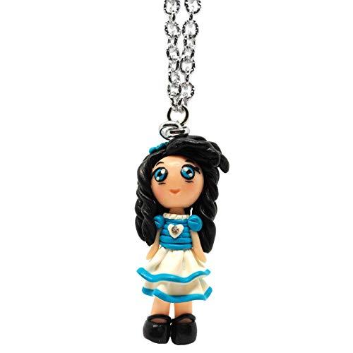 ParticolarModa Collana in alluminio con bambolina'Silvia' kawaii fatta a mano con cuoricino e strass in fimo azzurra