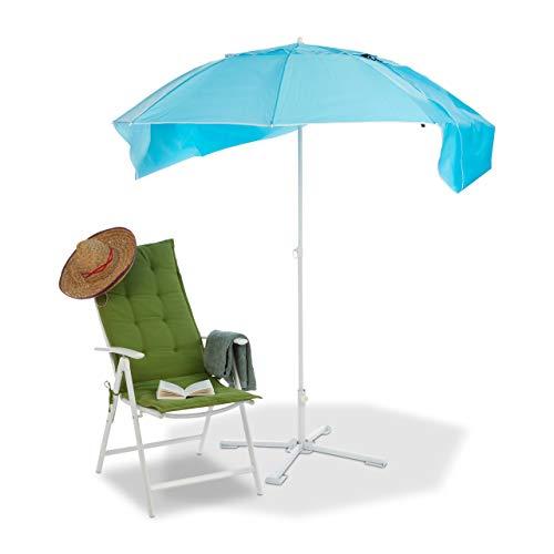 Relaxdays, blau Sonnenschirm Strandmuschel, 2 in 1 Sonnenschutz f. Strandurlaub, inkl. Tragetasche, Schirm HxD 210x180cm