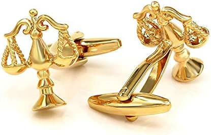 Zozu Libra Scales of Justice Gold-color Cufflinks Button Shirt Mens Shirt Studs Jewelry Gift For Lawyer (Scales)