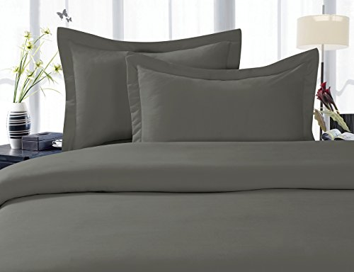 Elegant Comfort 1500 Thread Count Egyptian Quality 3 Piece Wrinkle Free and Fade Resistant Luxurious Duvet Cover Set, King/California King, Gray