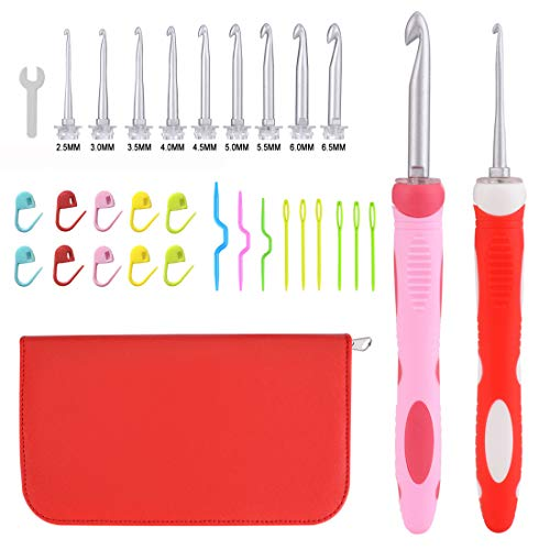 Interchangeable Crochet Hook,9 Sizes Aluminum Heads 2.5mm to 6.5mm with 2 Ergonomic Grip Silicone Handles,Crochet Hook Set for Arthritic Hands and Crochet Accessories(Red)