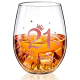 Bicchiere da Vino Senza Stelo Bicchiere da Vino per Regalo Compleanno in Oro Rosa Bicchieri Anniversario per Decorazioni per Anniversario Matrimonio Compleanno, 17 Once (21 and Finally)