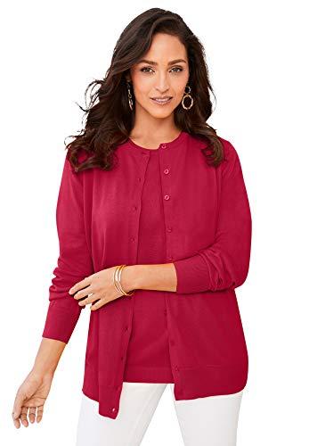 Jessica London Women's Plus Size Fine Gauge Cardigan Sweater - 14/16, Classic Red