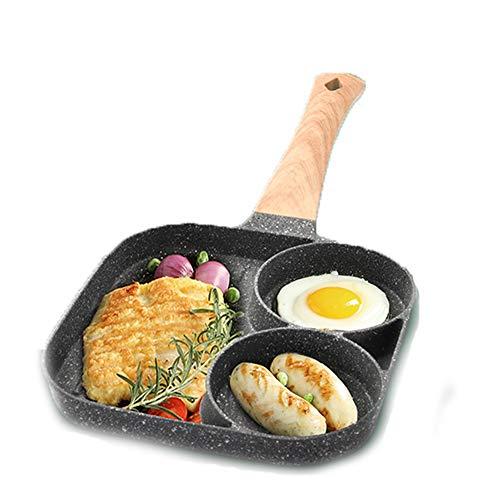 EOVL Sartén antiadherente - Sartén cuadrada de 3 secciones Sartén para huevos fritos dividida para desayuno, hamburguesas, bistec y tocino, apta para estufa de gas y cocina de inducción Sart