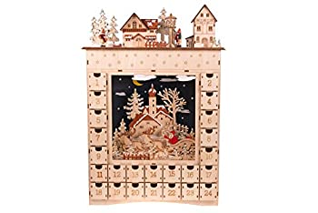 Clever Creations Wooden Christmas Advent Calendar Countdown to Christmas LED Holiday Decoration Battery Operated Santa Village