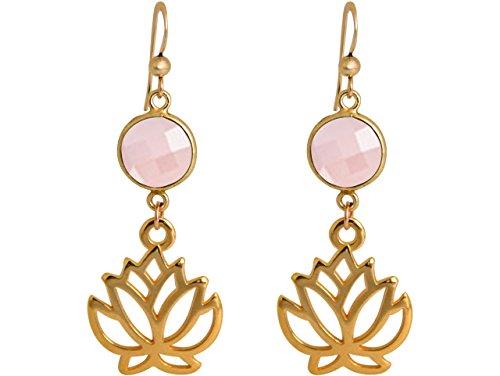 Gemshine Handmade - Ohrringe - Ohrhänger - Vergoldet - Yoga - Lotus Blume - Rosenquarz - Rosa - 3,5 cm