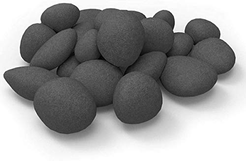 24 PCS Fireplace Ceramic Pebbles for Firepits ,for All Types of Indoor, Gas Inserts, Ventless & Vent Free, Electric, or Outdoor Fireplaces & Fire Pits. Realistic Clean Burning Accessories … (black)