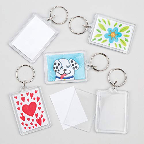 Baker Ross E4572 Make Your Own Keyring Kit (Pack of 8), for Kids to Assemble and Attach to Key Rings and Bags, White, 8 Pack