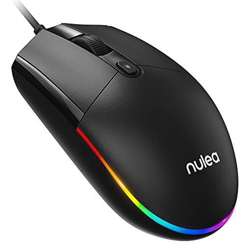 Nulea M100 Ratón Alámbrico, RGB Ratón con Clic Silencioso, Ultra-Ligero, USB Ratón de Computadora para Hogar y Oficina, 1600DPI, Compatible con Windows PC, Laptop, Desktop, Notebook