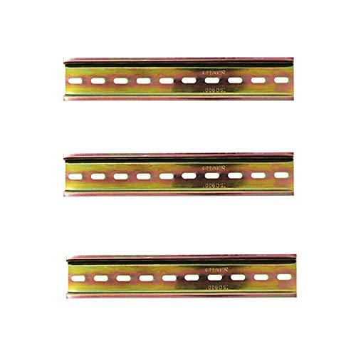 Her Kindness 3 Stück DIN-Schiene Farbe Stahl DIN Schiene für Verteilerschrank Schaltschrank einbau, 35mm breit,lang 200mm/7.9in, 7,5mm hoch
